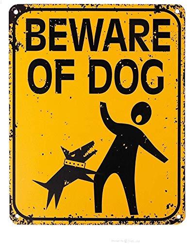 Cave Home, gran metal, cuidado con el letrero de perro, letreros divertidos para patio de perros para valla, hogar, 8 x 12 pulgadas