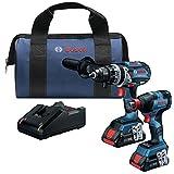 Bosch GXL18V-224B25 Kit combinado de 2 herramientas de 18 V con freak conectado de 1/4 pulg. y 1/2 pulg. destornillador de impacto de dos en uno y taladro de martillo de 1/2 pulg.