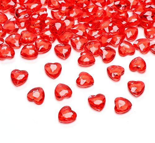 Sweelov 500 Stück Rot Herzen Diamantkristalle 12mm glitzernde Streudeko Deko Funkelnd Steine Kristalle Konfetti Diamanten zum DIY Verzieren Dekoration Hochzeit Verlobung,Valentinstag