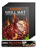HEADMALL Grill Mat 6 Packs,Non-Stick BBQ Grill Mats - Durable,Reusable,Easy to Clean - BBQ Mats for Barbecue Grilling & Baking,Electric Grill Gas Charcoal BBQ,Black