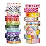 harayaa Washi Tape Set, 12/27 rollos de cinta adhesiva dorada para álbumes de recortes, cinta decorativa para manualidades, envoltura de regalos, diarios, 5 mm 10 mm 3 m