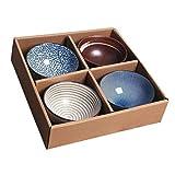 BESTonZON 4 PCS Ciotola di Ceramica Giapponese Che Serve Ciotola Vinatge di Insalata Ciotola di Frutta Spuntino Dip Ciotola di Salsa di Pasticceria tè del caffè della Colazione Vassoio per