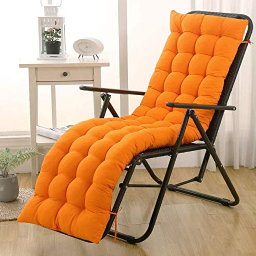 AISHANG Sun Lounger Cushion Pads Replacement Garden Patio Thick Chair Recliner Relaxer Pad for Outdoor Garden Patio Beach(chair Is Not Included) (Color : Orange, Size : 48 * 163 * 8cm)