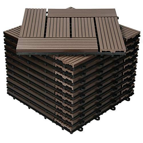 ECD Germany Baldosas de Patio WPC de 30x30 cm 11 Piezas por 1m² con Aparencia de Madera Mosaico Marrón Oscuro con Sistema de Drenaje y Instalación Mediante Clic Azulejos Elegante para Terraza Balcón