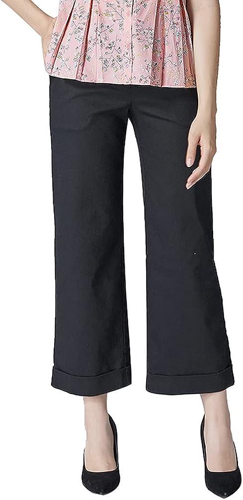 Women's Long Pants Straight Leg Stretchy high Waist Black Pants