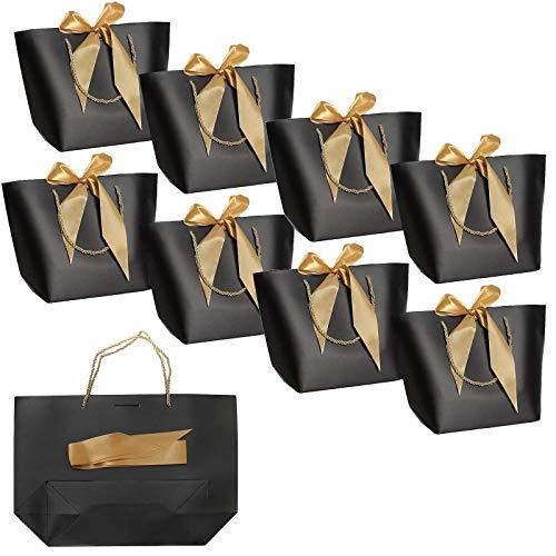 8-pack Cadeauzakjes met Handvatten, Papieren Feestzakjes Bulk met Striklint, voor Verjaardag, Bruiloft, Afstuderen, Feest, Cadeau, Wrap -28x20x9cm