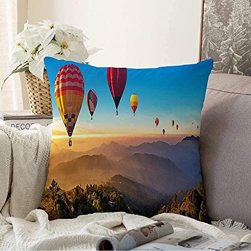 Almohada Decorativa Rayo de sol Aire caliente Globos de Tailandia Ascender Montaña Volar Vuelo sobre la naturaleza Diseño Cielo Tranquilo Cuadrado Cojín acogedor Funda de almohada para sofá, 16 'x 16