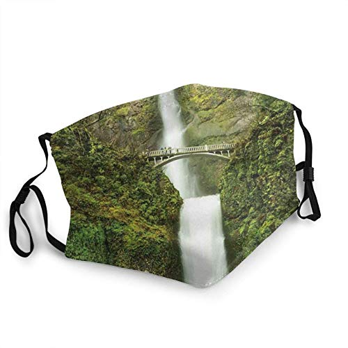 Erwachsene waschbare und wiederverwendbare Gesichtsbehandlung Warme winddichte Outdoor-Mode Dekorative Maske Falls of Rivendell Multnomah Wasserfall Oregon mit Hobbit Elf Path Bridge Szene Bild 1 PCS