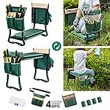 Garden Kneeler and Seat, Upgraded Folding Garden Bench Stool Portable Garden Kneeler Sturdy Gardening Tools with 2 Free Tool Pouch, Detachable Belt, EVA Kneeling Pad, Ideal Gardening Gift