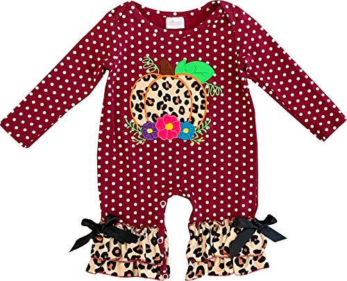 Baby Infant Girls Fall Harvest Time Wild Child Cheetah Burgundy Dots Pumpkin Ruffles Romper 12-18/L