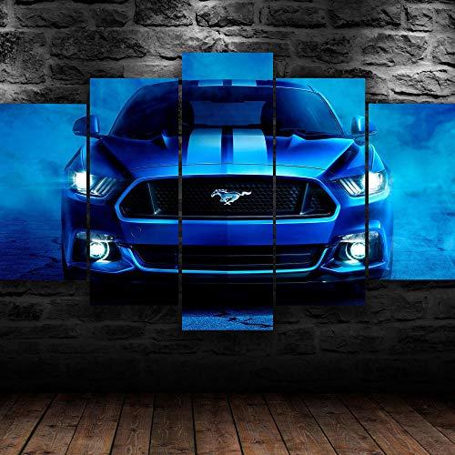 hgjfg Bilder Wandbild 150x80cm Leinwandbild 5 TLG Kunstdruck Ford Shelby Mustang Blue Car modern Wandbilder XXL Wanddekoration Design Wandkunst 5 Stücke Leinwand Wohnzimmer Dekoration
