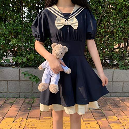 Mcttui Lolita Kleidung Lolita Dress Streetwear Shirt Kurzarm Kleid Mädchen Matrose Medium Lange Kleid Sommer Neue Uniformen Kleid Schuluniform (Color : Black, Size : Small)