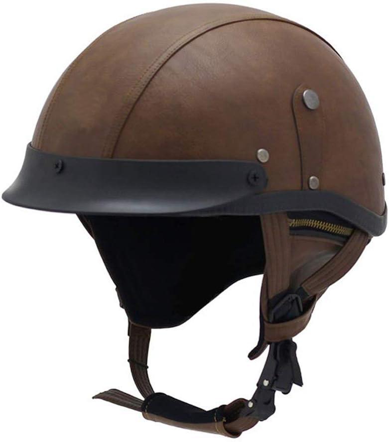 Woljay Leather Max 61% OFF Motorcycle Vintage Half Helmets Cruiser Spasm price Sco Biker