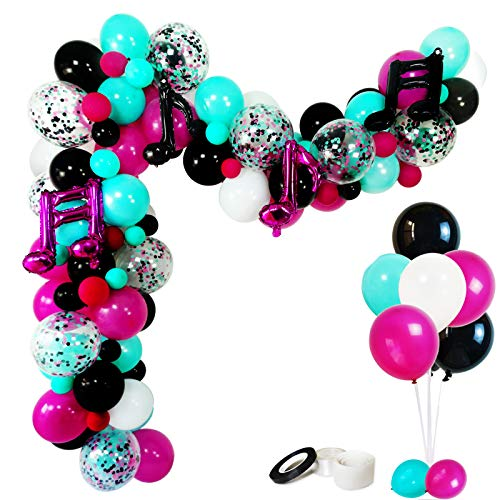 Music Notes Party Decorations, Karaoke Balloon Garland & Arch Kit, White, Rose Red, Seafoam Blue, Black Latex Balloons Confetti Balloon Musical Note Foil Balloon Strip Set for Birthday Party Supplies