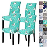 4Pack Chair Covers for Dining Room, Seat Protector Stretch Removable, Soft Spandex Decoration Seat Slipcovers for Home Dining Room Hotel Ceremony Banquet Wedding Party