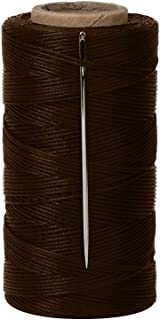 Tenn Well 328Yards 150D 1MM Waxed Thread, Flat Sewing Wax Sail Kit with Needles for Leather DIY Project(Brown)