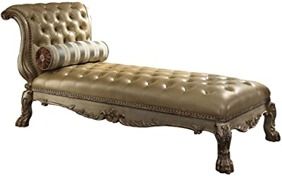 ACME Dresden Gold Patina Chaise with 1 Pillow