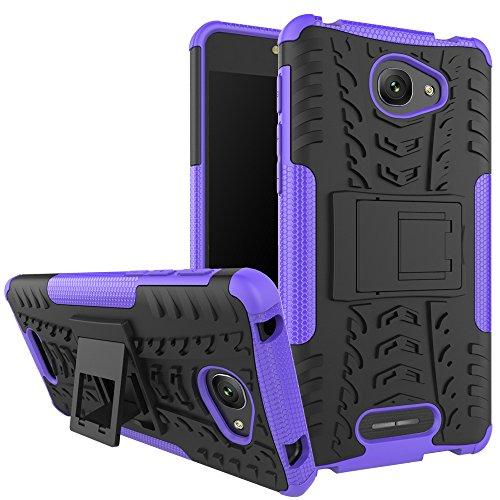 TiHen Funda Alcatel Pop 4S 360 Grados Protective con Pantalla de Vidrio Templado. Caso Carcasa Case Cover Skin móviles telefonía Carcasas Fundas para Alcatel Pop 4S - Púrpura