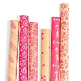 RUSPEPA Kraft Gift Wrapping Paper - Brown Kraft Paper with Hot Pink Pattern Collection-6 Roll-30Inch...
