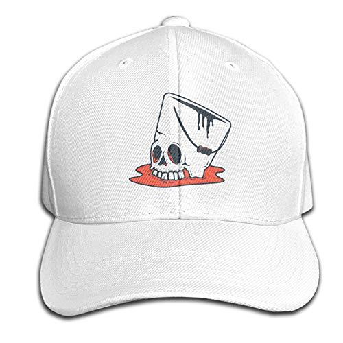WJSDOWOWEN Buckethead Hut mit Totenkopf-Motiv, verstellbar, Weiß, Einheitsgröße