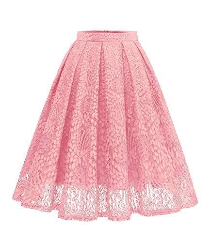 Girstunm Women High Waist Pleated A-Line Knee Length Lace Pockets Skirt Blush S