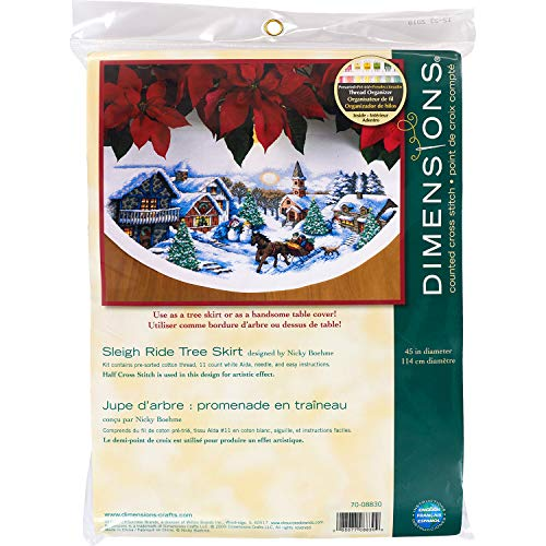 DIMENSIONS 70-08830 Counted X Stitch-Tree Skirt: Sleigh Ride, 100% Cotton, White, 114 x 114 x 0.1 cm