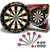 Dart Board Bristle Steel Tip Dartboard with Flights Finger Grip Wax 6 Darts