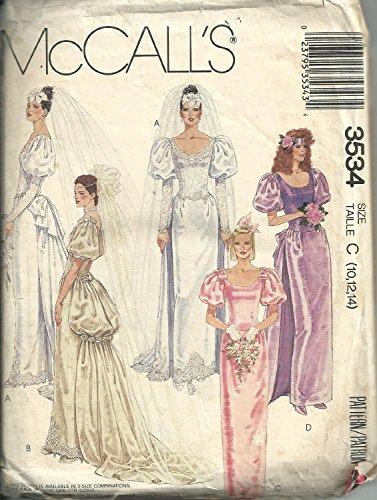Mccall's 3534 A, Misses Bridal Gown, Wedding Dress, Bridsmaids Dress. Detachable Train, Size: A (6, 8, 10,)