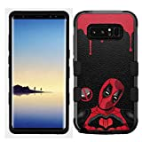 for Galaxy Note 8, Hard+Rubber Dual Layer Hybrid Shockproof Rugged Impact Cover Case - Deadpool Heart #Z