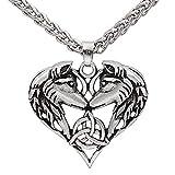 HLARK Collar Viking Con Colgante Cabeza Lobo Colgante Forma Corazón Amuleto Celta Nórdico Collar Talismán Para Hombre