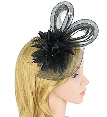Zking Fascinators For Women Derby Hats Wedding Hat With Veil Girls Flower Headband