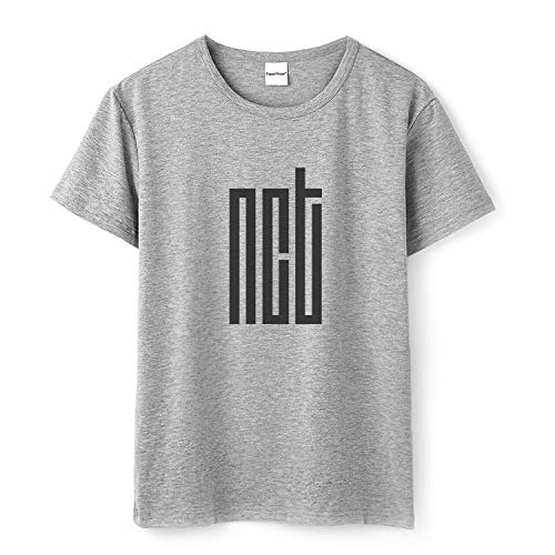 Fanstown Kpop NCT Tshirt NCT U NCT 127 NCT Dream Tshirt Gray Cotton Shirt with pin Button Badge