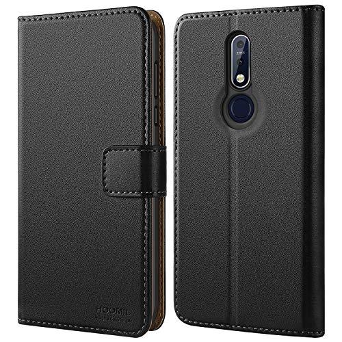 HOOMIL Handyhülle für Nokia 7.1 Hülle, Premium Leder Flip Schutzhülle für Nokia 7.1 Tasche, Schwarz