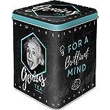 Nostalgic-Art Retro Teedose Einstein – Genius Tea, Aufbewahrung für losen Tee und Teebeutel, Vintage Geschenk-Idee für Studenten, 100 g