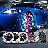 LEADTOPS Car Tire Wheel Center Caps Lights, 4 Pack Solar Car Wheel Tire Hub Cap Light Motion Sensors LED Tire RGB Flashing Colorful Exterior Lamp RF Remote Control