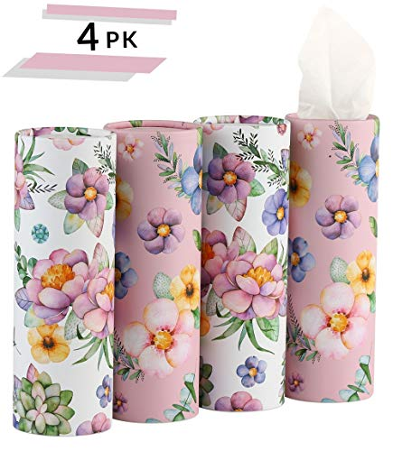 Car Tissue Holder with Facial Tissue Bulk - 4 PK TissueTube | 3 Ply Travel Tissues Travel Size | Perfect Fit for Car Cup Holder, Car Tissue Box, Round Container (Floral)