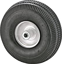 """Rocky Mountain Goods Replacement Tire 4.10/3.50-4"""" - Tire for Hand Truck, Cart, Dolly, Gorilla Cart - 2.25"""" Offset Hub with Pneumatic 5/8"""" Ball Bearing - Sawtooth Tread - 400 lb. Load Capacity"""