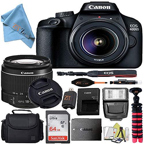Canon EOS T100/4000D DSLR Camera w/Canon EF-S 18-55mm F/3.5-5.6 III Zoom Lens + Case + 64GB SD Card + More + ZeeTech Cloth (Starter 64GB)