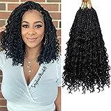 Crochet Box Braids -Box Braid Crochet Hair 8 Packs Goddess Boho Box Braids Gypsy Bohemian Braids With Curly Ends Pre-looped Crochet Hair For Black Women(14, 1B#)……