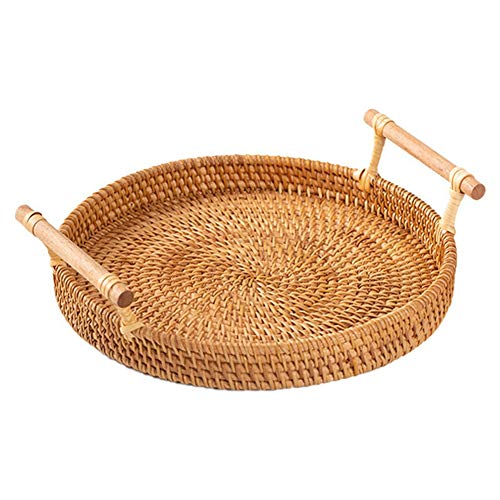 """Natural Rattan Tray, Alloyseed Round Rattan Bread Basket Decorative Woven Storage Serving Tray with Handles for Cracker Snack Dinner Parties Coffee Breakfast Bread Fruit (S:8.66""""(D) X2.56""""(H))"""