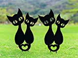 TT & MM Metal Garden Stake Yard Decor - Black Cat Ornament Silhouette Stakes Decor, Metal Cartoon Couple Cat Statues for Lawn Flower Bed