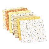 7 PCS 25 x 25 cm,tela de algodón por metros,paquete de tela para patchwork manualidades tela para coser tela de costur vestidos de muñecas mangas cinta para el pelo artesanía color amarillo