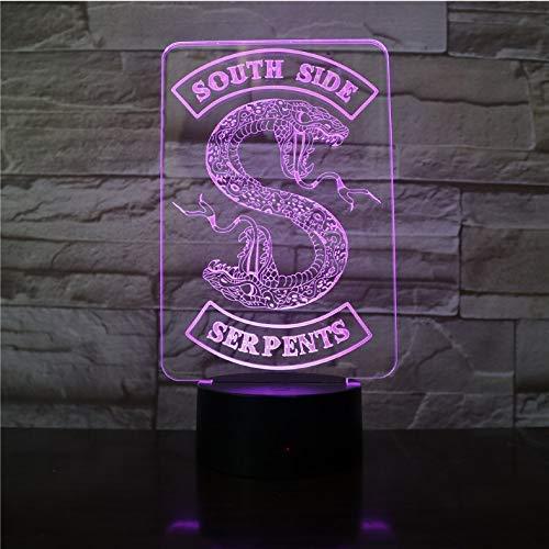 Insignias Riverdale Snake Logo 3D Luz de noche LED Serpientes del lado sur Decoración Signo Cosas Riverdale Accesorios Lámpara de mesa Color Regalo