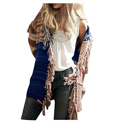 NEARTIME Flag Tassel Sweater, Womens Long Sleeve Knitting Cardigan Tops Ladies Loose Splicing Sweater Shirts Coat Blue