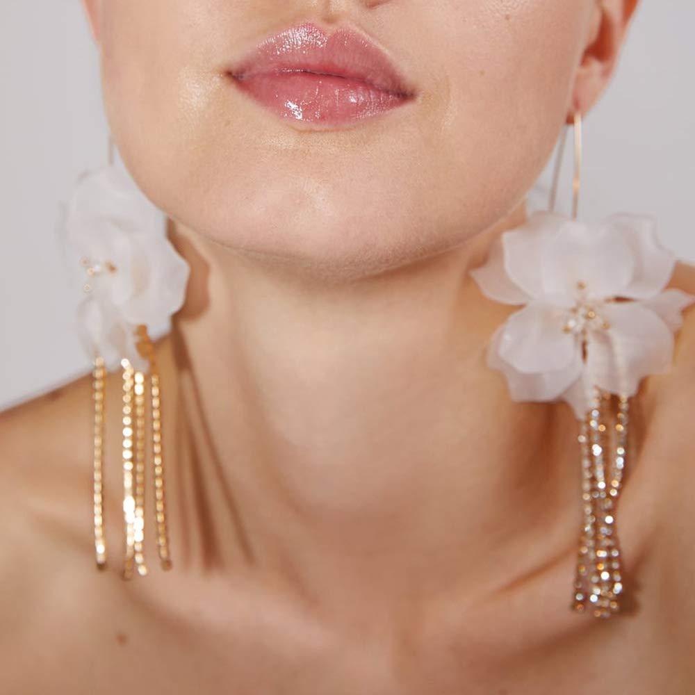 Doubnine Flower Lily Earrings Rhinestone Crystal Dangle Long Drop Women Wedding Accessories