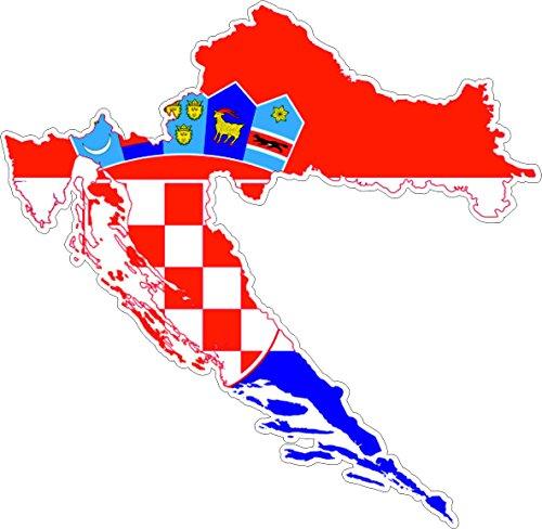 Akacha Aufkleber, selbstklebend, aus Vinyl, Motiv Kroatische Flagge auf Umriss Kroatiens