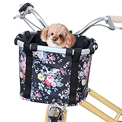 Next-Station Collapsible Bike Basket, Pet Bicycle Handlebar Carrier for Small Dog Cat, Easy Install and Quick Detachable Multi-Purpose Picnic Shopping Bag (Pink Flower)