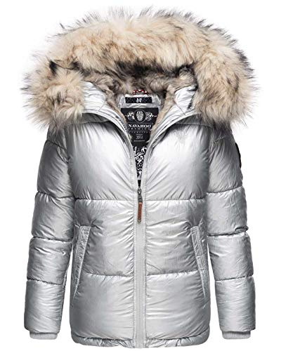 Navahoo Premium Damen Winter Jacke Parka Mantel Winterjacke warm Kunstfell B828 [B828-Tikun-Silber-Gr.S]