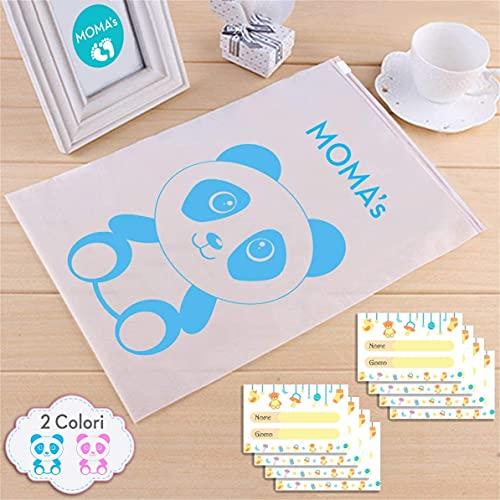 Momo - 8 bolsas para ropa y ropa infantil con cierre hermético + 8 etiquetas adhesivas personalizables - Juego de 8 bolsas para ropa y ropa infantil - Excelente idea regalo (azul)