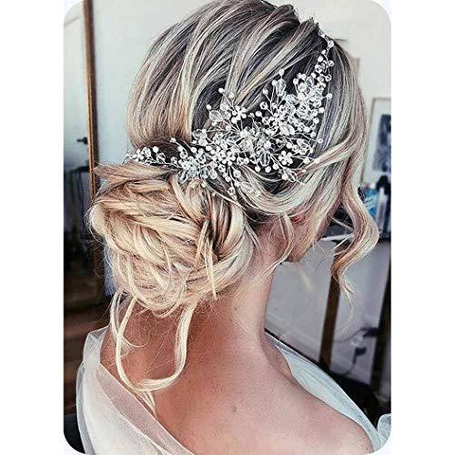 Unicra Braut Hochzeit Perle Haar Reben Kristall Kopfbedeckungen Hochzeit Haar Zubehör für Frauen und Mädchen (Silber)